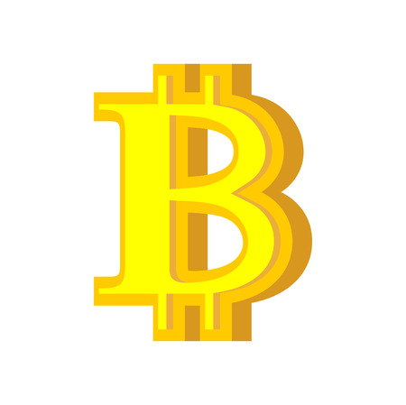 B letter bitcoin font. Cryptocurrency alphabet. Lettering virtual money. Vector illustration Ilustração