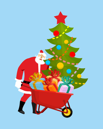 heavy industry: Santa Claus Wheelbarrow and gifts. Xmas grounds trolley. Christmas and new year. Vector illustration