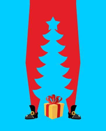Santa Claus and Christmas tree. high Santa and silhouette of spruce between his legs for New Year and Christmas vector illustration. Illustration