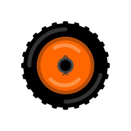 Ruota del trattore isolata. Illustrazione vettoriale di carrello ruota