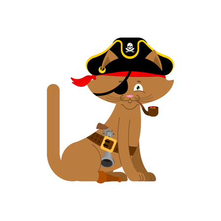 costume eye patch: Cat pirate. Home pet buccaneer. filibuster hat and smoking pipe. wooden leg. Vector illustration.