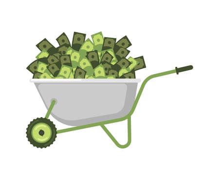 heavy industry: Wheelbarrow and money. Cash in garden trolley. Vector Illustration
