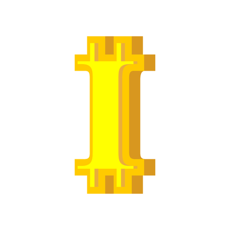 I letter bitcoin font. Cryptocurrency alphabet. Lettering virtual money. Vector illustration