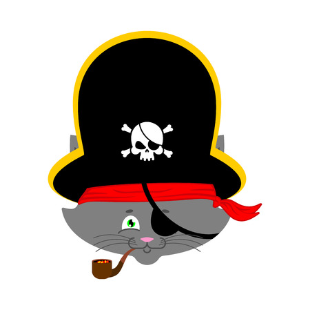 costume eye patch: Cat pirate. Home pet buccaneer. filibuster hat and smoking pipe. Vector illustration.