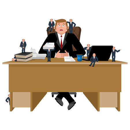 planning: Boss and helpers. Businessman and Business Consultant. Boss desk. Office vector illustration