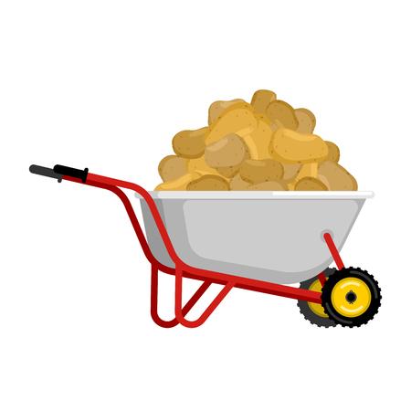 Illustration of potatoes in a wheelbarrow.