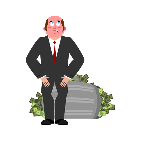 taker: Bribe taker and suitcase of money illustration.
