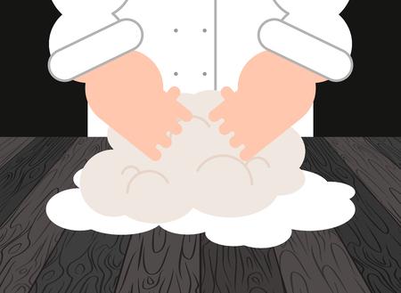 Chefkoch und Konditor Bäcker bei der Arbeit. Vektor-illustration