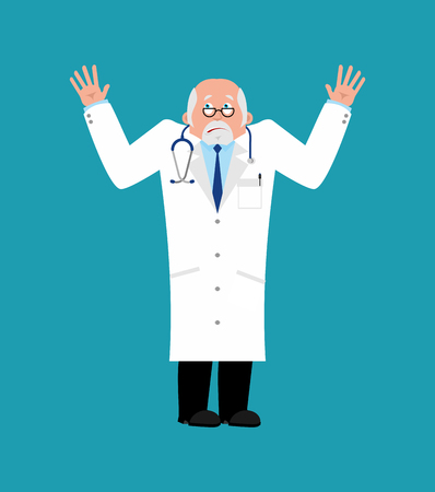 Doctor bewildered. Physician at a loss emoji. Vector illustration