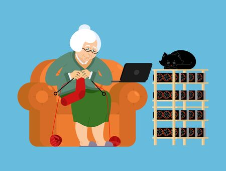 Mining farm and Grandmother. Cryptocurrency at home. Granny Extraction of virtual money. Vector illustration Illustration