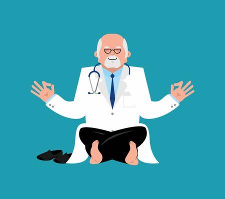 yogi: Doctor yoga. yogi Physician relaxation and meditation. Vector illustration Illustration