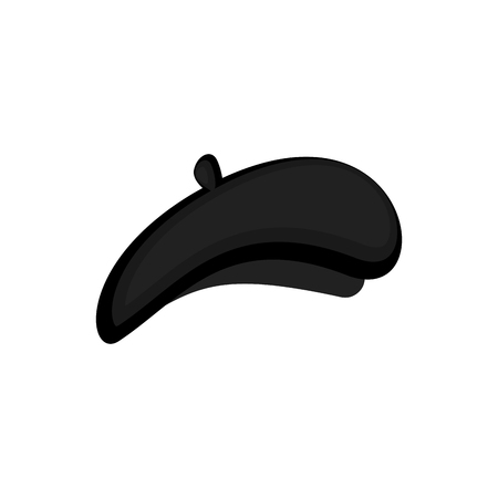 Mime black beret isolated. Mimic Cap. Vector illustration