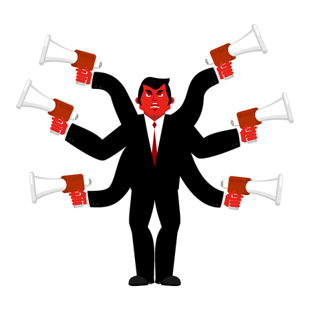 Boss and megaphone. Businessman and lots of hands. Director scolds through bullhorn. Give orders and instructions. Chief is wicked. Vector illustration Illustration