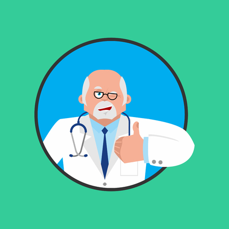Doctor winks and thumb up. Happy Physician. Merry. Vector illustration