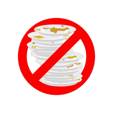 더러운 접시를 그만 두시오. 더러운 접시를 사용하지 마십시오. 빨간색 금지 기호 금지. 벡터 일러스트 레이 션