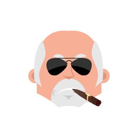 Doctor Serious emotion face avatar. Physician with cigar emoji. Vector illustration