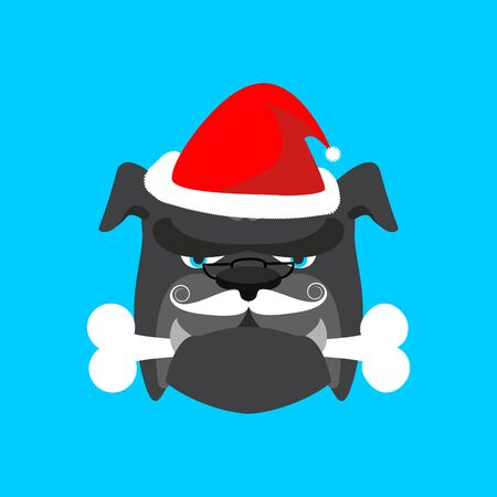 Santa dog and bone. Christmas home pet. Xmas and new year vector illustration