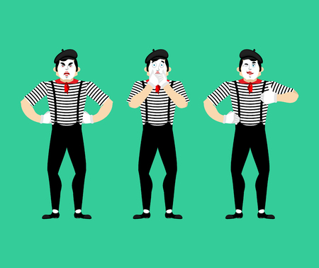 Mime set. Pantomime bewildered and angry. Mimic winks and thumb up. Vector illustration