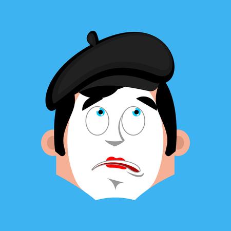 Mime bewildered emotion avatar. pantomime at a loss emoji. mimic icon. Vector illustration Illustration