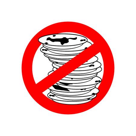 Stoppen Sie schmutziges Geschirr. Verwenden Sie keine schmutzigen Teller. Rotes Verbotszeichen verbieten. Vektor-Illustration