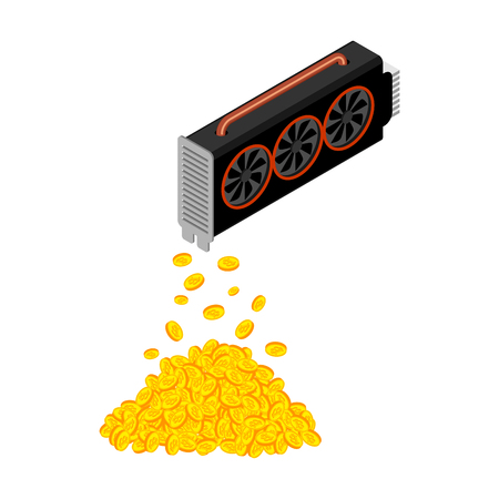 Mining video card. Miner of GPU. Technology extraction crypto currency. Virtual money. Vector illustration Vector Illustration