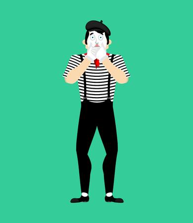 Mime OMG. fear pantomime. dread mimic. Vector illustration