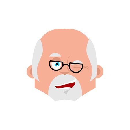 Doctor winks emotion avatar. Physician happy emoji. Vector illustration