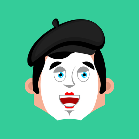 mimo: Mime happy emotion avatar. pantomime merry emoji. mimic face. Vector illustration