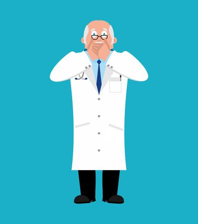 Doctor OMG. Physician fear dread. Vector illustration Illustration