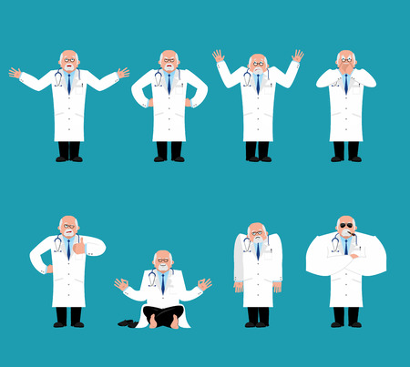 Doctor set. Physician sad and yoga. bewildered and angry. happy winks and thumb up. Vector illustration