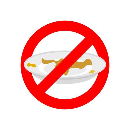 Stop vuile vaat. Gebruik geen vuile schotel. Verbod op rood verbodsteken. Vector illustratie