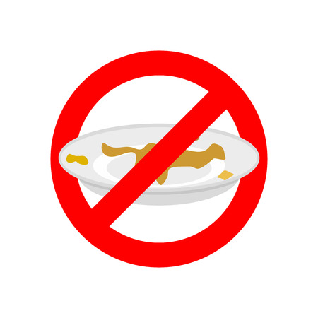 Zatrzymaj brudne naczynia. Nie używaj brudnego naczynia. Zakaz czerwonego znaku zakazu. Ilustracji wektorowych Ilustracje wektorowe