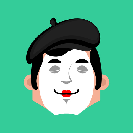 Mime sleep emotion avatar. pantomime sleeping emoji. mimic face. Vector illustration