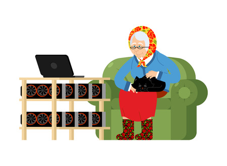 Mining in Russian. grandmother and mining farm. Cryptocurrency at home. Granny Extraction of virtual money. Vector illustration