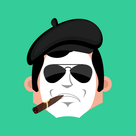 Mime Serious emotion face avatar. pantomime with cigar emoji. mimic icon. Vector illustration Illustration