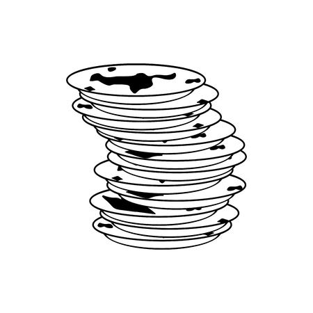 汚れた皿のアイコン。汚れた皿の標識です。ベクトル図