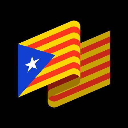 Estelada Blava flag banner ribbon. Illustration