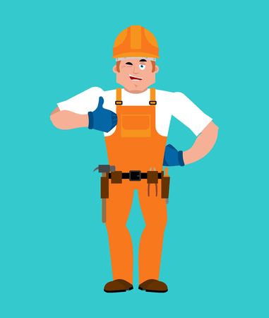 Builder man showing thumbs up.
