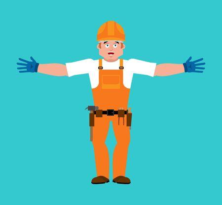 Builder man open arms.