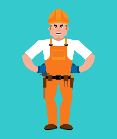 Builder angry image. Illustration