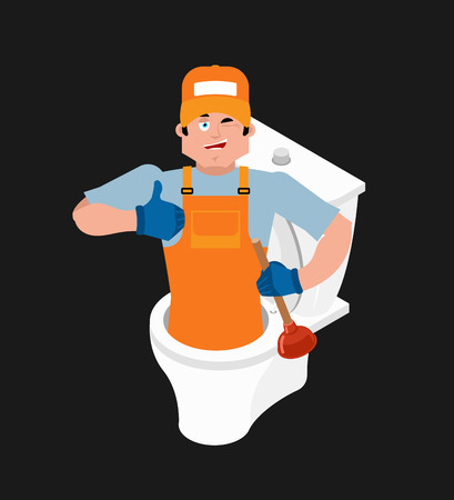 Plumber and toilet icon.