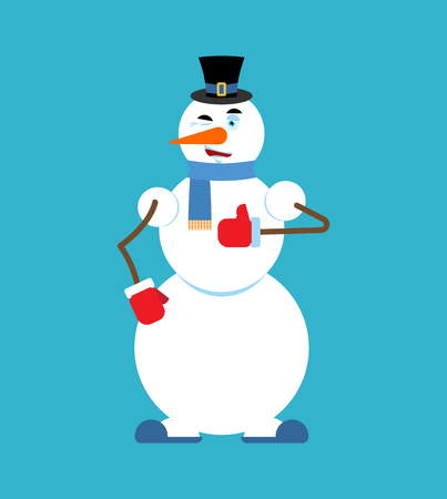 Snowman doing thumbs up.