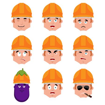 Set of builder emotion avatar.