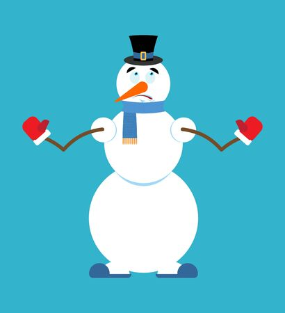 business graphics: Snowman scared image. Illustration
