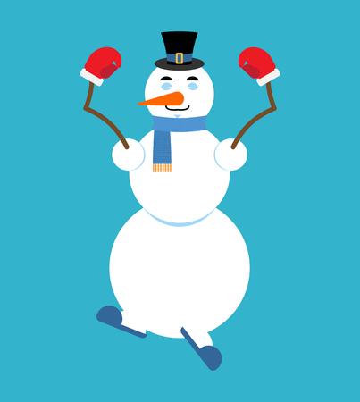 Snowman doing yoga.