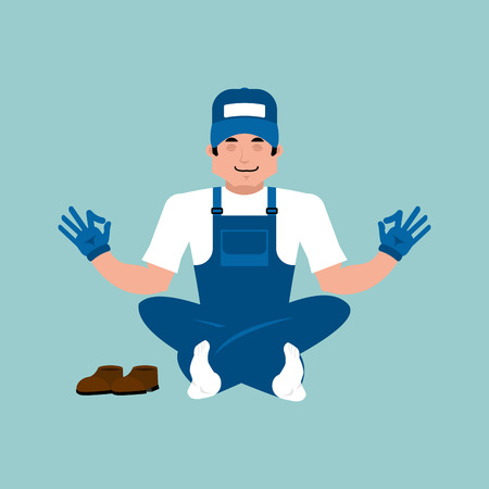 Plumber doing yoga. Illustration