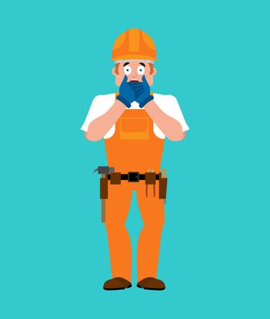 Shocked builder image. Illustration