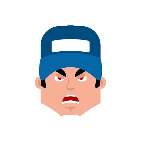 handy man: Plumber angry emotion avatar. Illustration