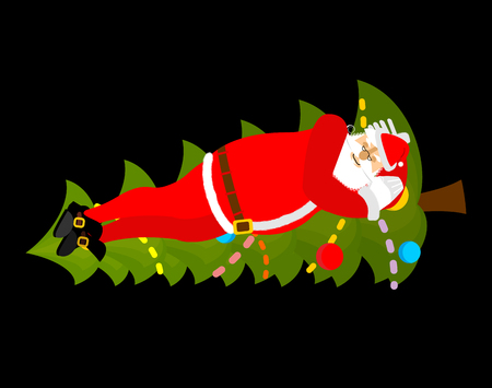 Santa Claus Sleep on Christmas tree. Sleeping grandfather. Christmas New Year illustration