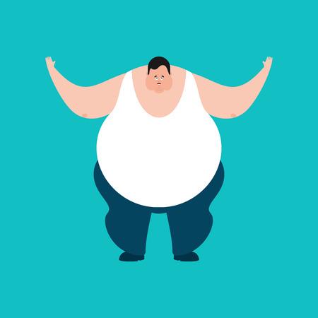 Fat happy. Stout guy merryl emoji. Vector illustration